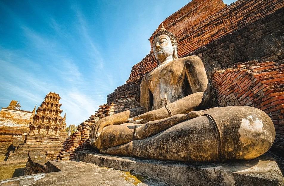 Thailand tourist destination, a giant Buddha, statue of Buddha, Sukhothai Historical Park